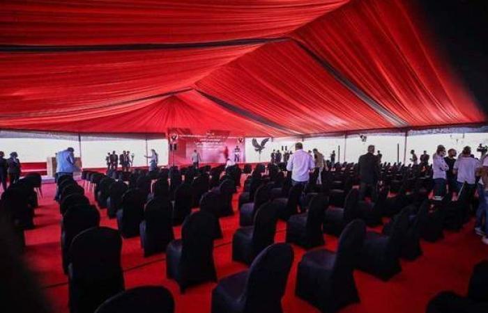 استاد النادى الأهلي.. خيمة عملاقة استعدادا لاحتفالية وضع حجر الأساس