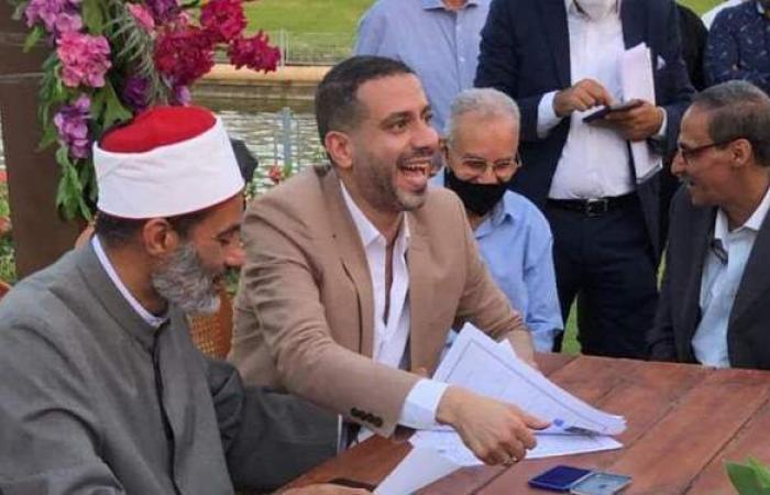 لحظة عقد قران محمد فراج وبسنت شوقي   فيديو وصور