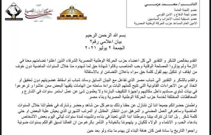 """النائب محمد عزمى لقيادات """"الحركة الوطنية"""": أفعالنا تسبق أقوالكم ولن نتنازل عن حقنا"""
